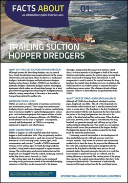 """Facts About Trailing Suction Hopper Dredgers"" describes self-propelled hydraulic dredgers with drag heads that suction up loose materials like sand."