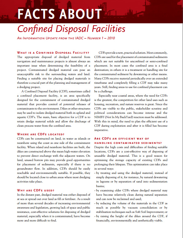 """Facts About Confined Disposal Facilities"" describes the special closed areas that prevent contaminated sediments from being released into the environment."