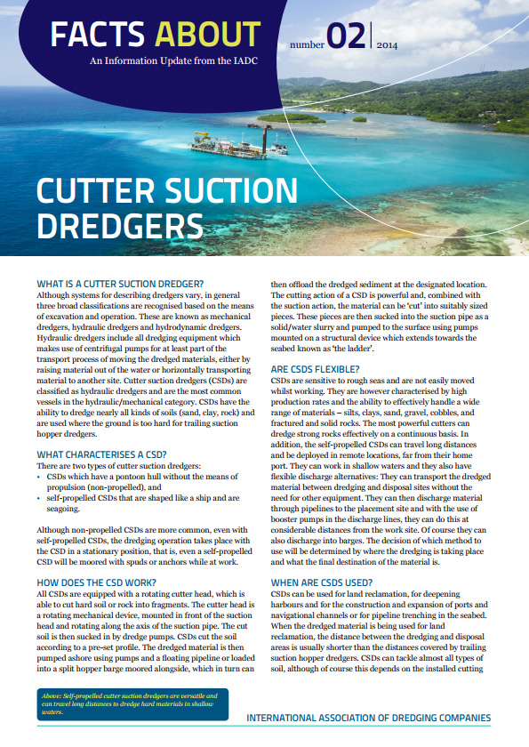 """Facts About Cutter Suction Dredgers"" describes a type of hydraulic dredger that can dredge nearly all kinds of soils, especially hard ground and rock."