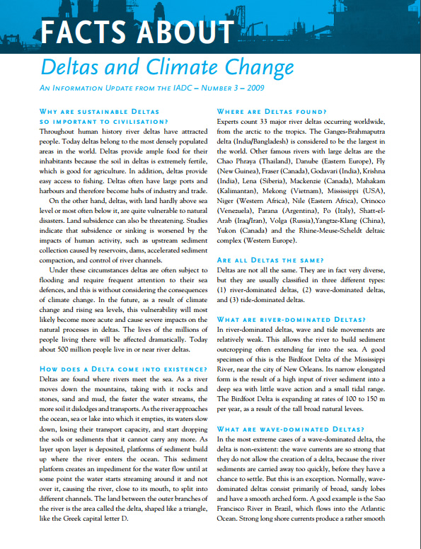 """Facts About Deltas and Climate Change"" describes the importance of deltas as population hubs for trade and their added vulnerability as sea levels rise."