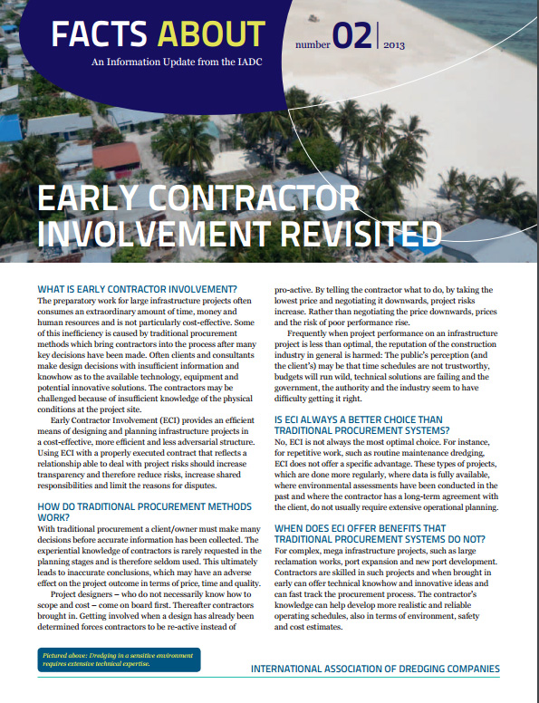 """Facts About Early Contractor Involvement"" describes a more cooperative, cost-effective approach to designing and planning infrastructure projects."