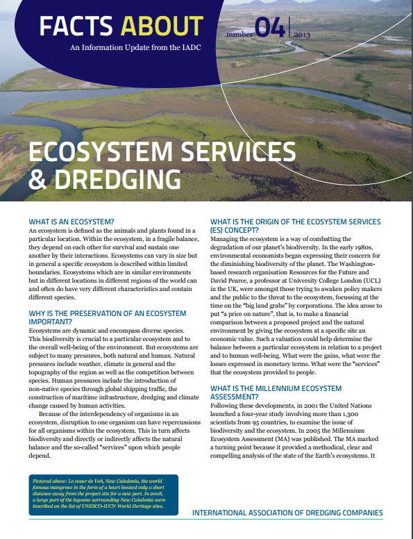 """Facts About Ecosystem Services & Dredging"" describes how the value attributed to ecosystems and to dredging projects can be compared and evaluated."