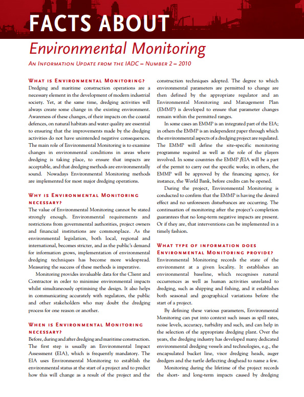 """Facts About Environmental Monitoring"" describes the methods used to alert dredging contractors to environmental impacts so they can be addressed quickly."