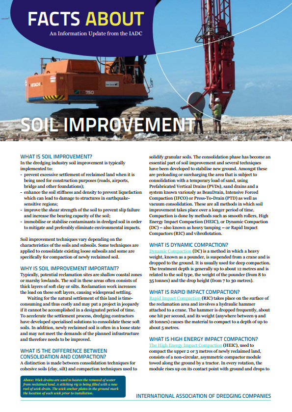 """Facts About Soil Improvement"" describes how to accelerate the consolidation of reclaimed land increasing its strength to bear the weight of construction."