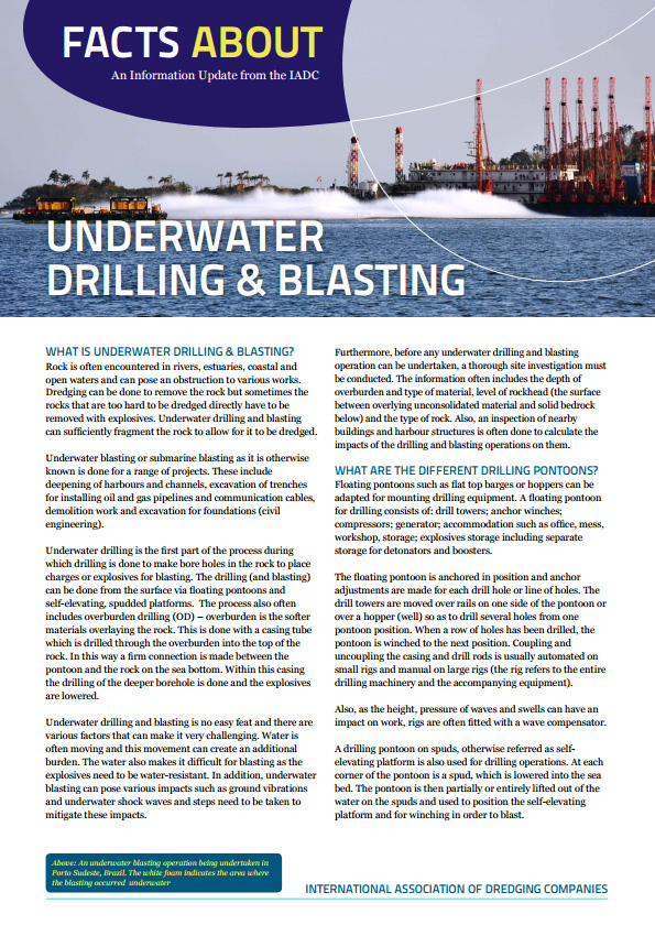 """Facts About Underwater Drilling & Blasting"" describes when explosives are necessary to dredge rock and the techniques used to drill and blast effectively."