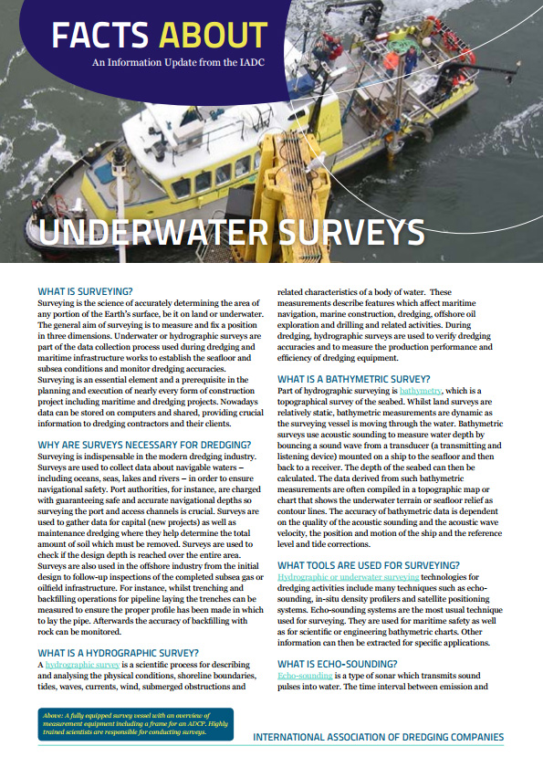 """Facts About Underwater Surveys"" describes why surveys are crucial to a well-executed dredging project and the technologies and instruments being used."