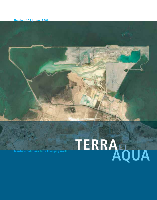 An aerial photo of the land reclamation project at the New Doha International Airport site, where new methods of compaction and the Six Sigma quality management system expedited the work.