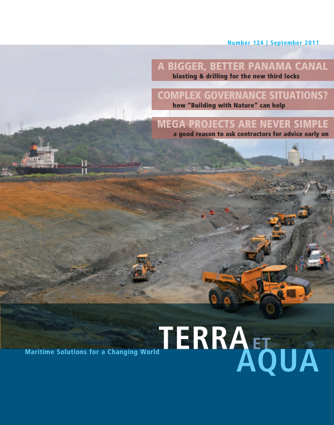 With both the number of post-Panamax vessels and the demand for Canal transits increasing, the Panama Canal Authority is building new, larger post-Panamax locks. Shown here, the excavation of Pacific Zone 2-South with, left, the Canal and transitting vessels visible.