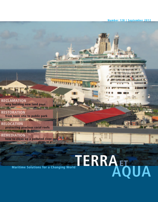 The newly expanded Falmouth Cruise Ship Terminal in Trelawny, Jamaica. To realise the dredging and reclamation works required for this economically important port project, an extensive environmental mitigation plan was implemented to preserve coral and other marine life by harvesting coral colonies, transporting and reattaching them at suitable locations and monitoring their health (see page 15).