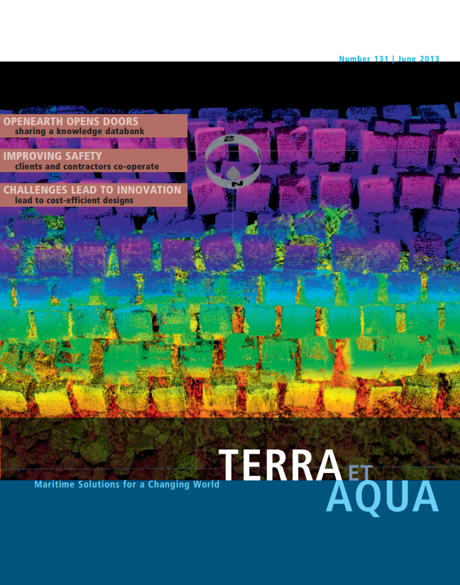 During construction of the Maasvlakte 2 block dam, laser scans and multibeam surveys were conducted to verify tolerance as the blocks were placed. As each 50-m section of the breakwater was ready, it was handed over to the client with a combined 3D model of the multibeam and laser scan data, such as the one pictured here (see page 18).