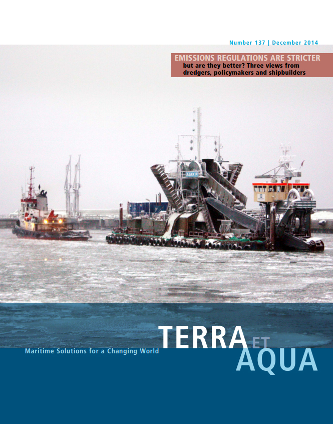 A bucket dredger working in the Baltic Sea near Riga, Latvia. Both the Baltic Sea and the North Sea are SOx Emission Control Areas (SECAs). Dredging vessels in SECAs will have to comply with stricter fuel emissions standards as of January 1, 2015 (see page 14).