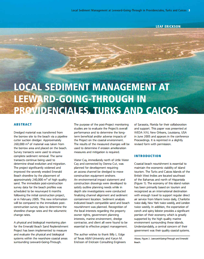 Local Sediment Management at Leeward-Going-Through in Providenciales, Turks and Caicos