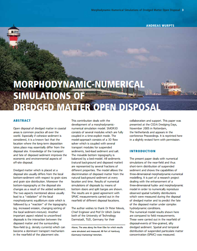Morphodynamic-Numerical Simulations of Dredged Matter Open Disposal