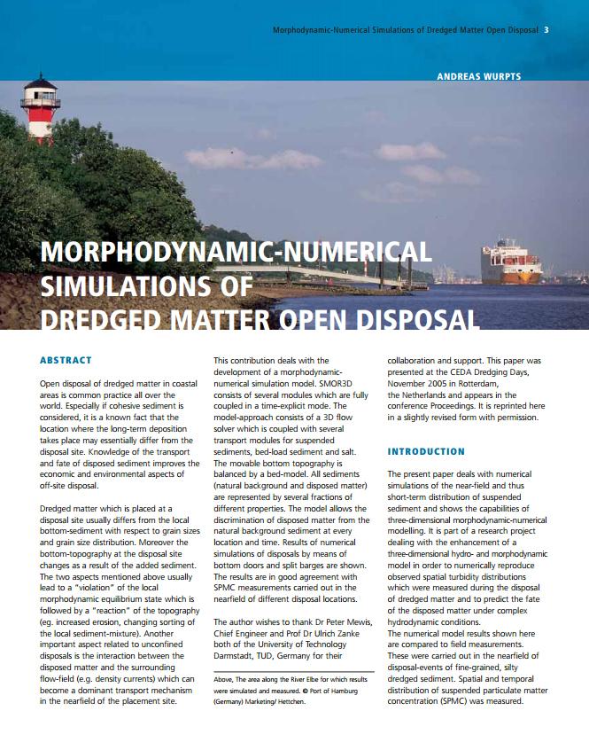 Morphodynamic-Numerical Simulations of Dredged Matter Open Disposal