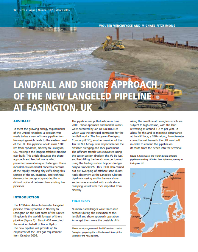 Landfall and Shore Approach of the New Langeled Pipeline at Easington, UK
