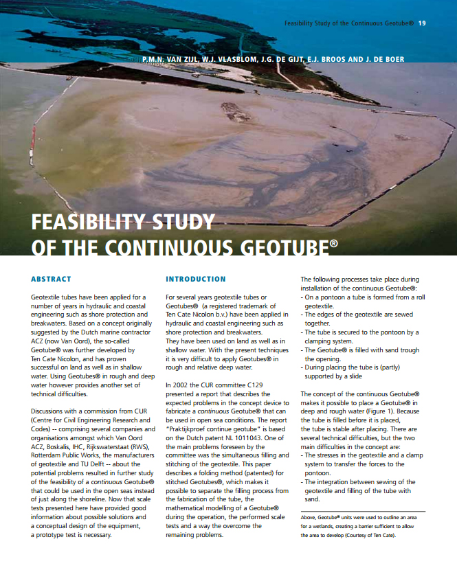 Feasibility Study Of The Continuous Geotube
