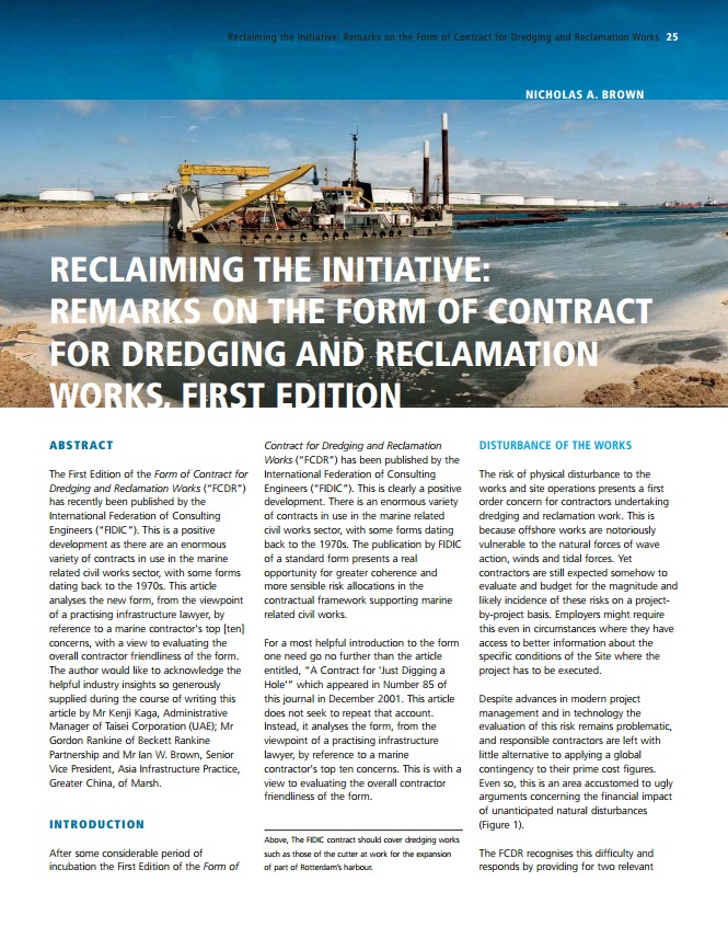 Reclaiming the Initiative: Remarks on the Form of Contract for Dredging and Reclamation Works