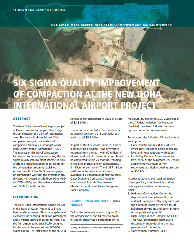 Six Sigma Quality Improvement of Compaction at the new Doha International Airport Project