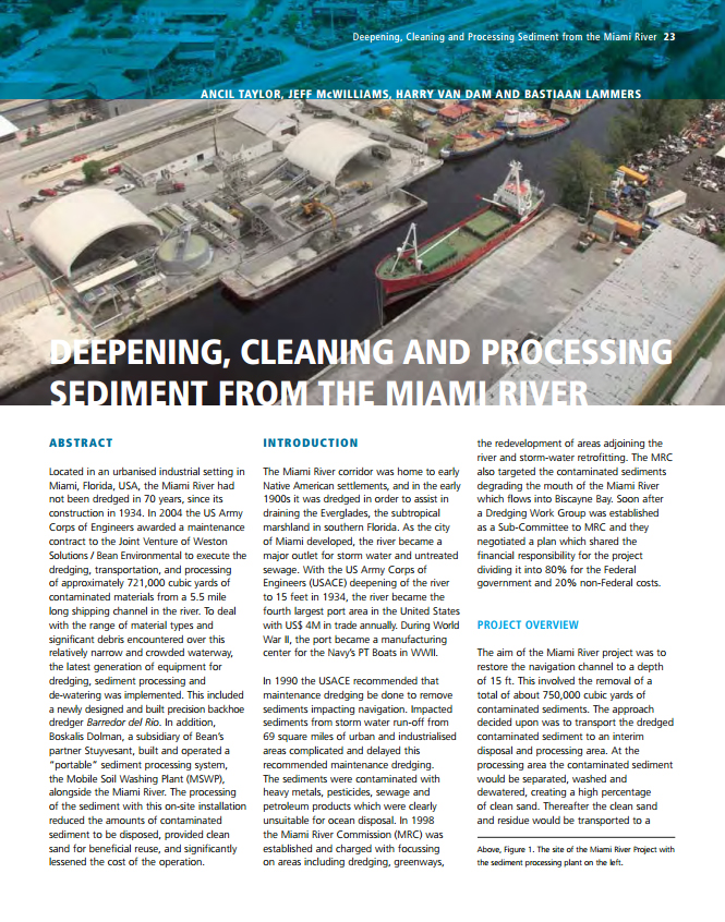 Deepening, Cleaning and Processing Sediment from the Miami River