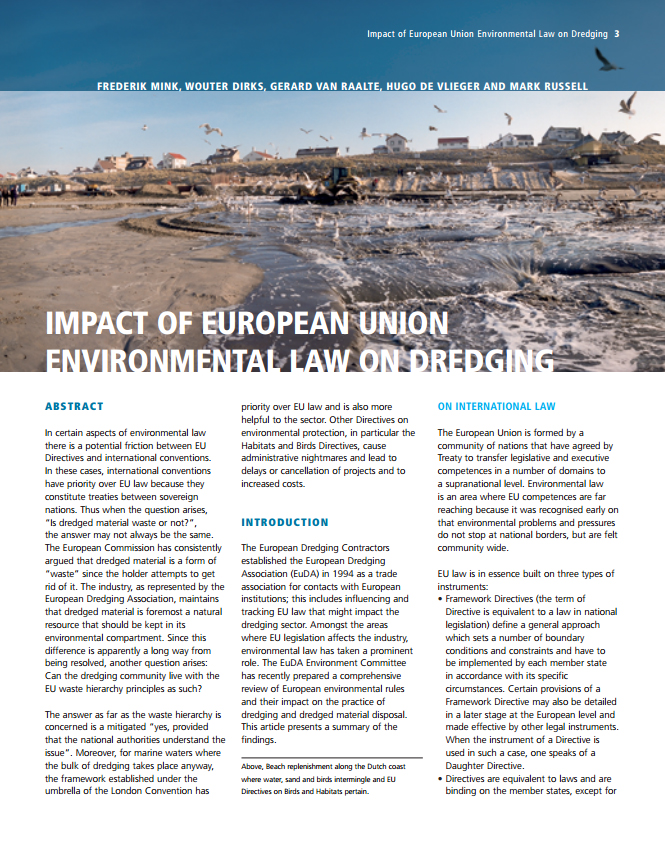Impact of European Union Environmental Law on Dredging
