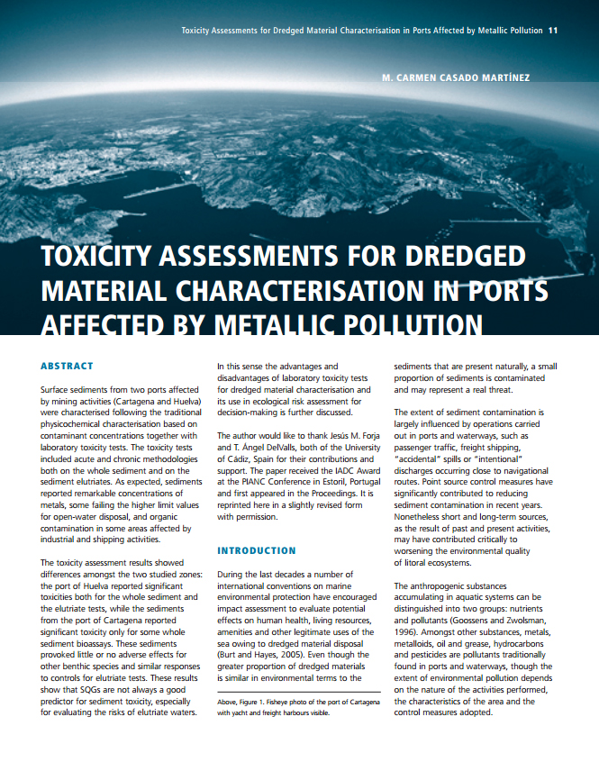 Toxcity Assessments For Dredged Material Characterisation in Ports Affected by Metallic Pollution