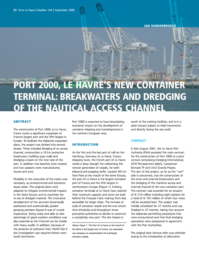 Port 2000, Le Havre's New Container Terminal: Breakwaters and Dredging of the Nautical Access Channel