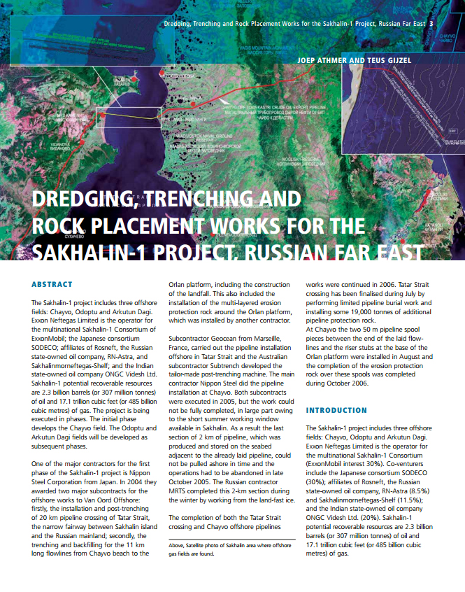Dredging, Trenching and Rock Placement Works for the Sakhalin-1 Project, Russian Far East