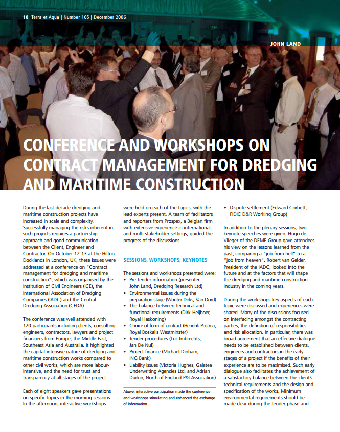 Conference and Workshops on Contract Management for Dredging and Maritime Construction