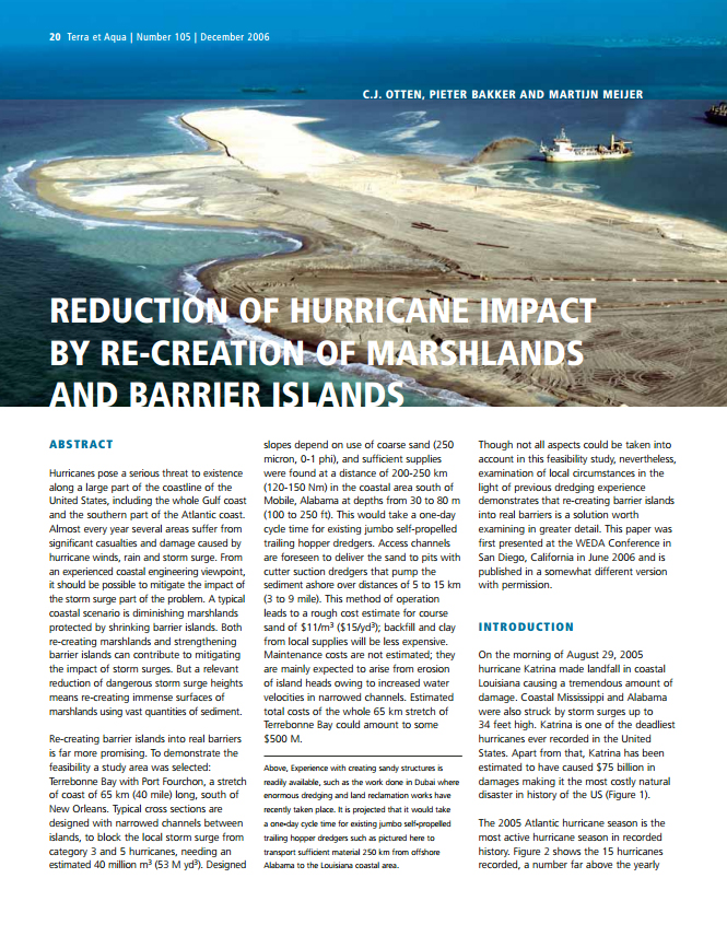 Reduction of Hurricane Impact by Re-Creation of Marshlands and Barrier Islands