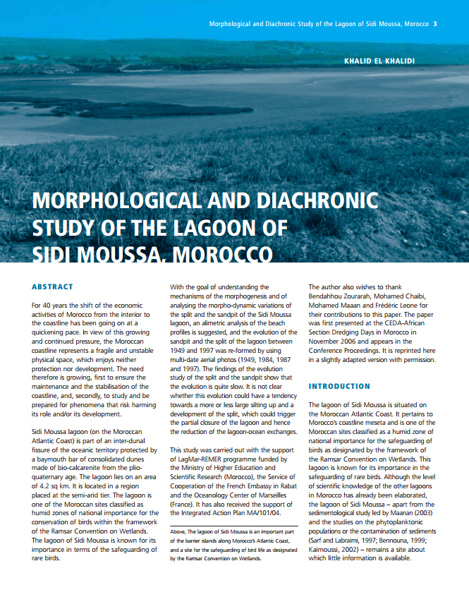 Morphological and Diachronic Study of the Lagoon of Sidi Moussa, Marocco