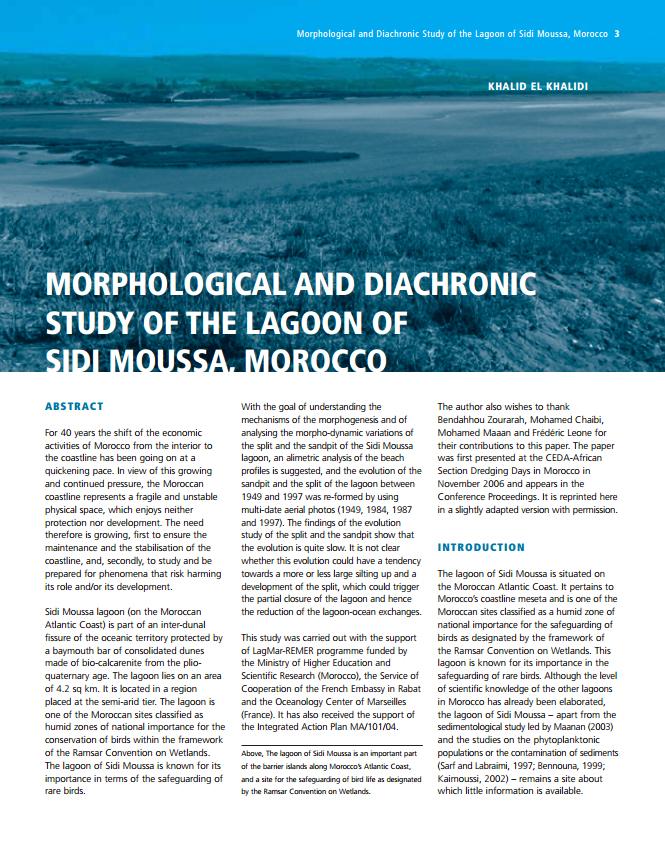 Morphological and Diachronic Study of the Lagoon of Sidi Moussa, Marocco