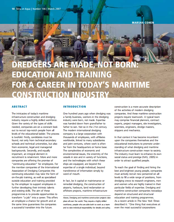 Education and Training for a Career in Today's Maritime Construction Industry - Dredgers are Made, not Born