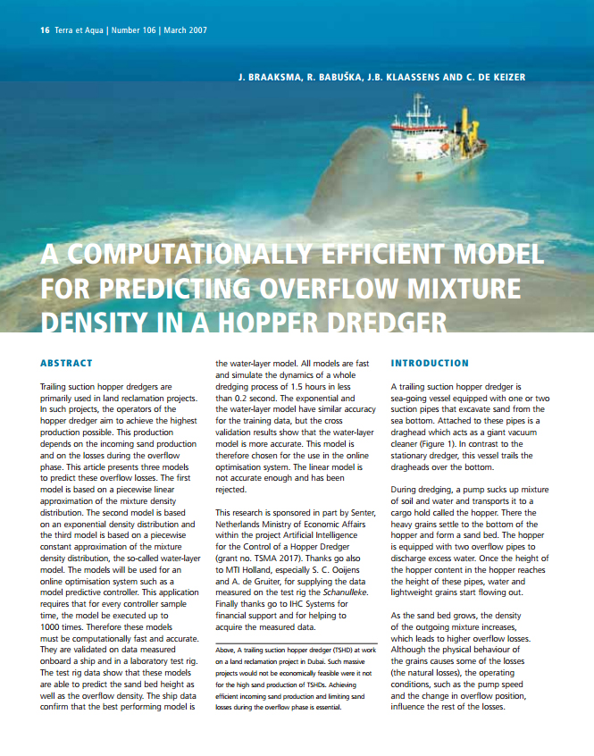 A Computationally Efficient Model for Predicting Overflow Mixture Density in a Hopper Dredger