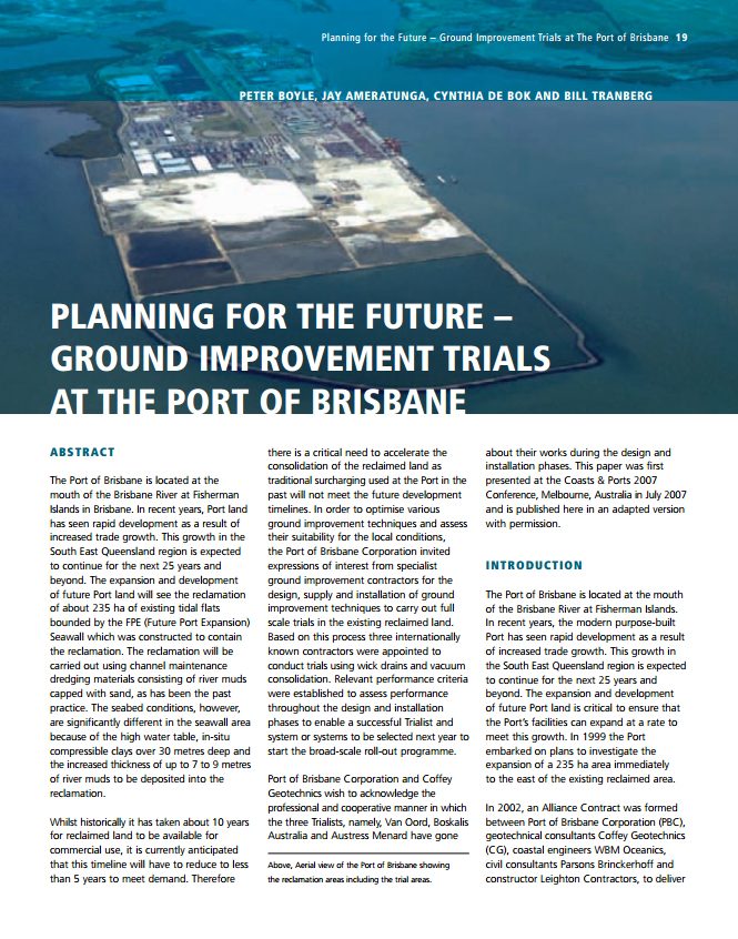 Planning for the Future - Ground Improvement Trials at the Port of Brisbane