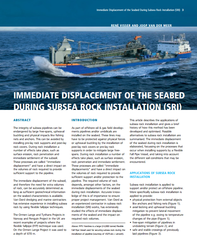 Immediate displacement of the seabed during Subsea Rock Installation (SRI)