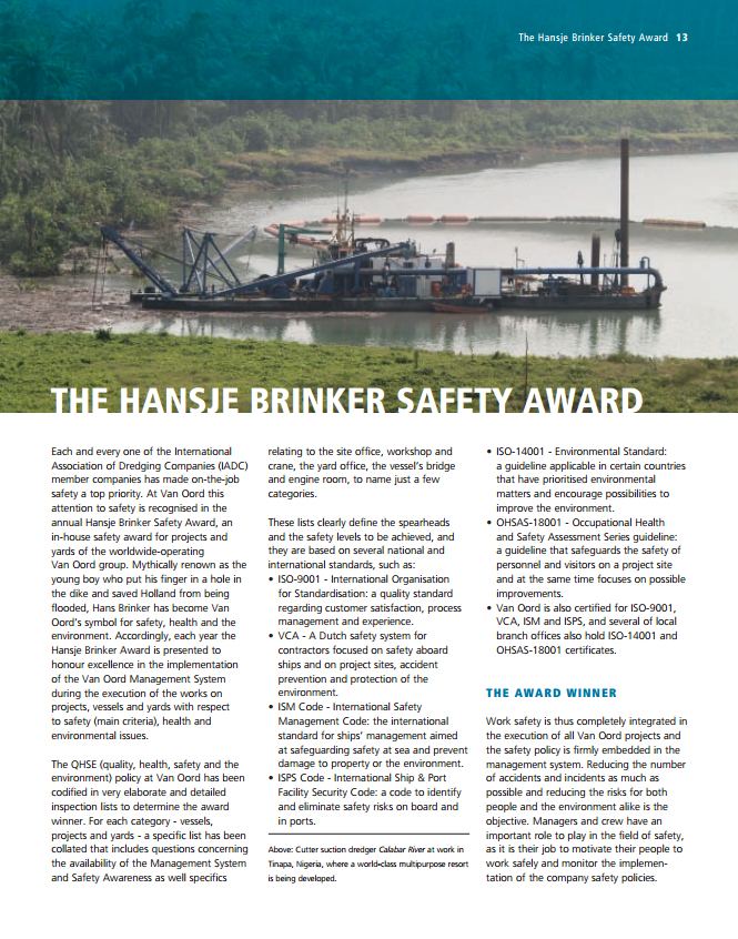 The Hansje Brinker Safety Award