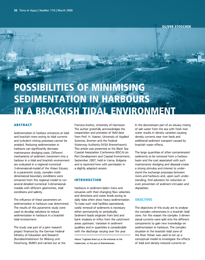 Possibilities of Minimising Sedimentation in Harbours in a Brackish Tidal Environment