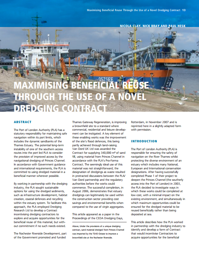 Maximising Beneficial Reuse Through the Use of a Novel Dredging Contract