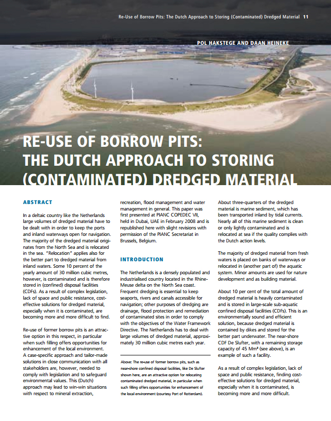 Re-Use of Borrow Pits: The Dutch Approach to Storing (Contaminated) Dredged Material