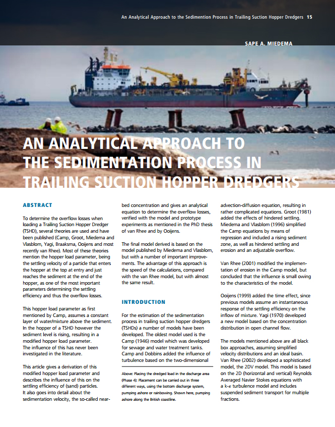 An Analytical Approach to the Sedimentation Process in Trailing Suction Hopper Dredgers