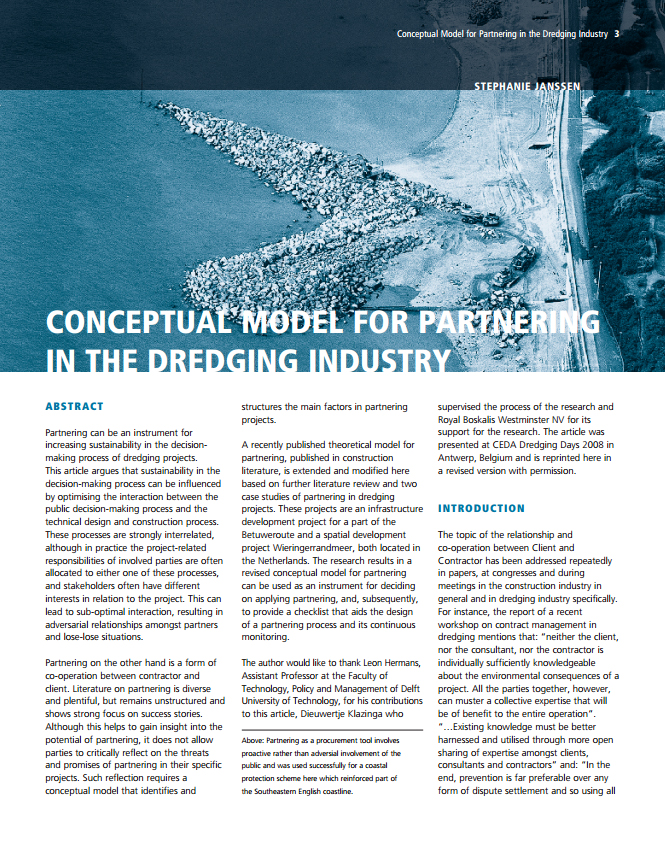 Conceptual Model for Partnering in the Dredging Industry