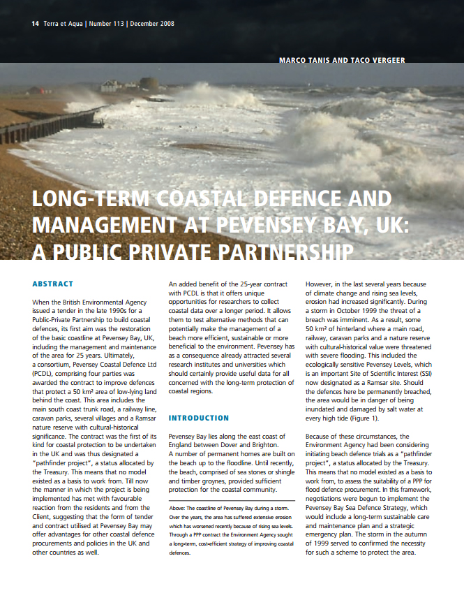 Long-Term Coastal Defence and Management at Pevensey Bay, UK: A Public Private Partnership