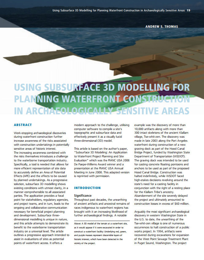 Using Subsurface 3D Modelling for Planning Waterfront Construction in Archaeologically Sensitive Areas