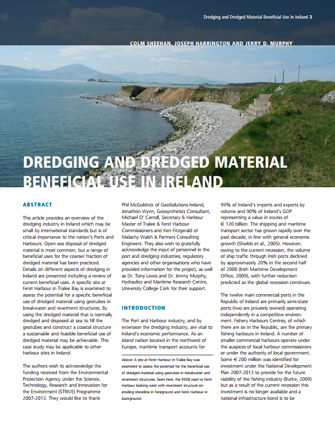 Dredging and Dredged Material Beneficial Use in Ireland