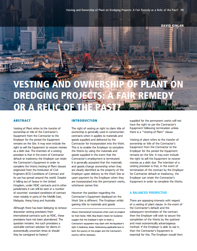 Vesting and Ownership of Plant on Dredging Projects: A Fair Remedy or a Relic of the Past?