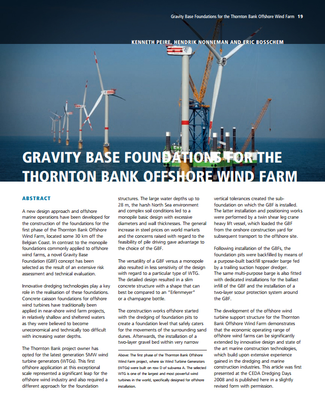 Gravity Base Foundations for the Thornton Bank Offshore Wind Farm