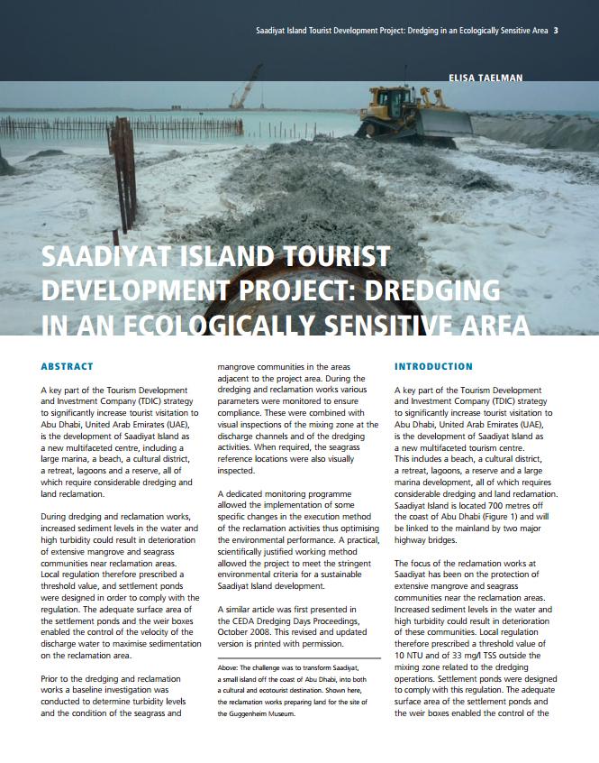 Saadiyat Island Tourist Development Project: Dredging in an Ecologically Sensitive Area