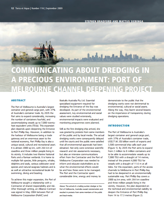 Communicating about Dredging in a Precious Environment: Port of Melbourne Channel Deepening Project