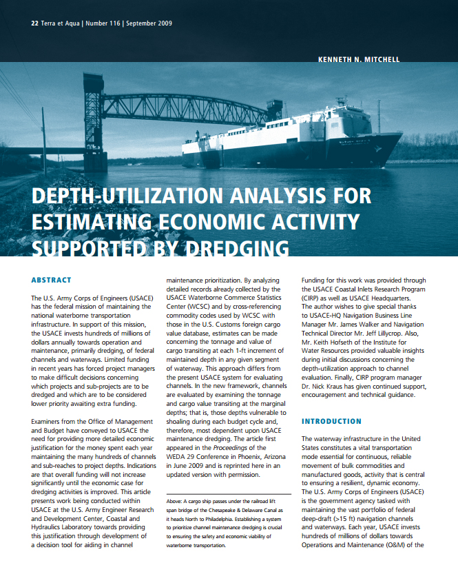 Depth-Utilization Analysis for Estimating Economic Activity Supported by Dredging