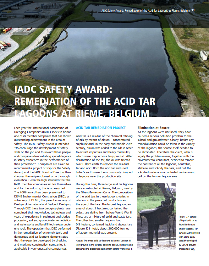 Remediation of the Acid Tar Lagoons at Rieme, Belgium (IADC Safety Award)
